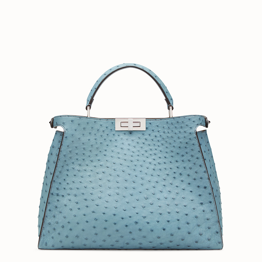 FENDI PEEKABOO ESSENTIAL - Light blue ostrich leather bag - view 3 detail