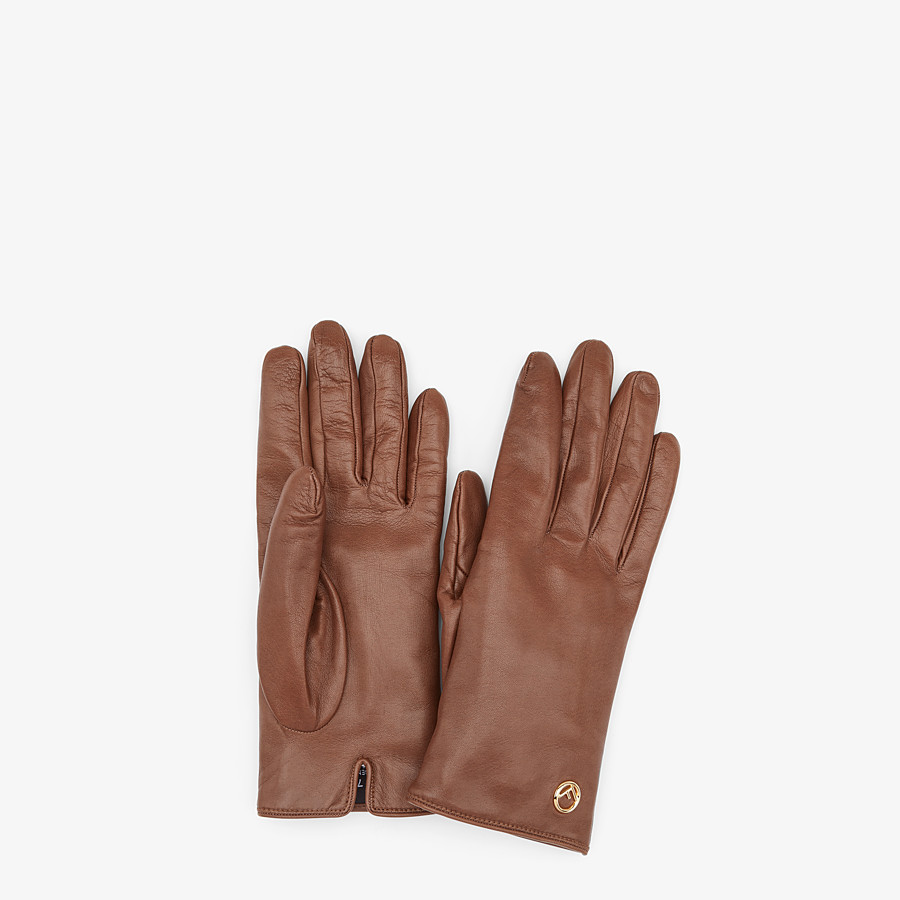 FENDI GLOVES - Gloves in brown nappa leather - view 1 detail