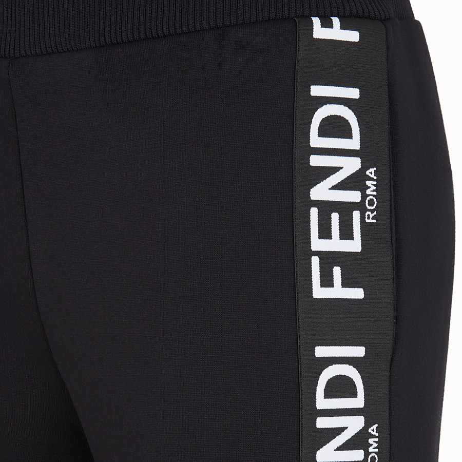 FENDI TROUSERS - Black fabric jogging trousers - view 3 detail