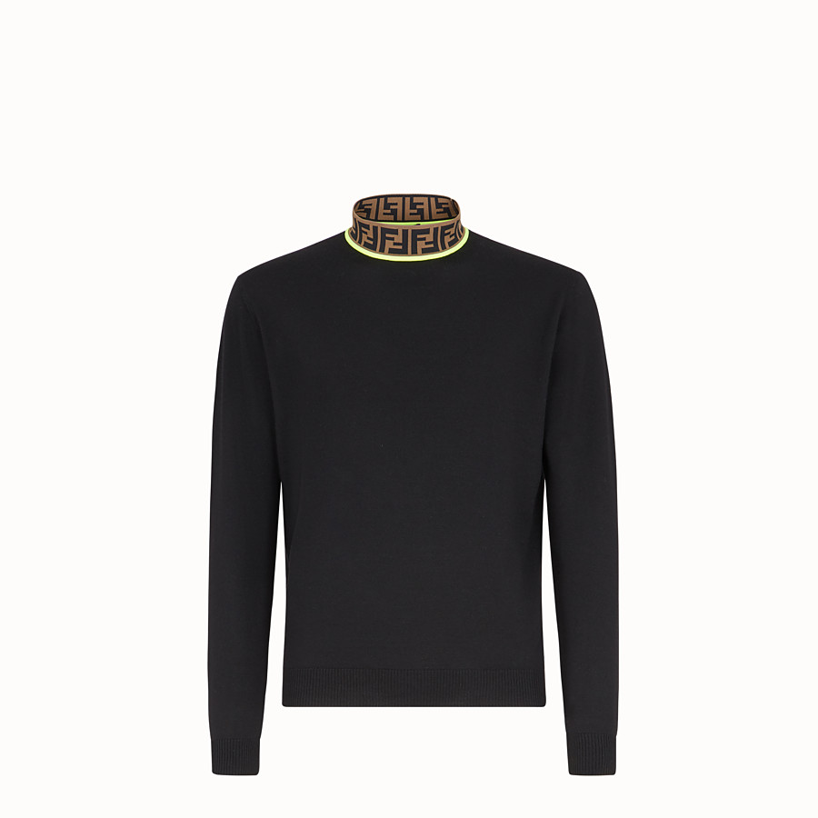 FENDI TURTLENECK - Black wool sweater - view 1 detail