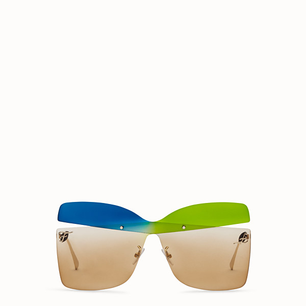 FENDI KARLIGRAPHY - Golden, blue, green-coloured sunglasses - view 1 small thumbnail