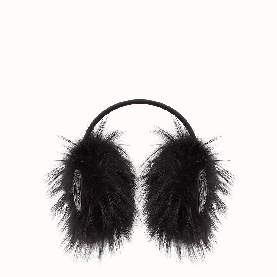 FENDI EARMUFFS - Black fur earmuffs - view 1 detail