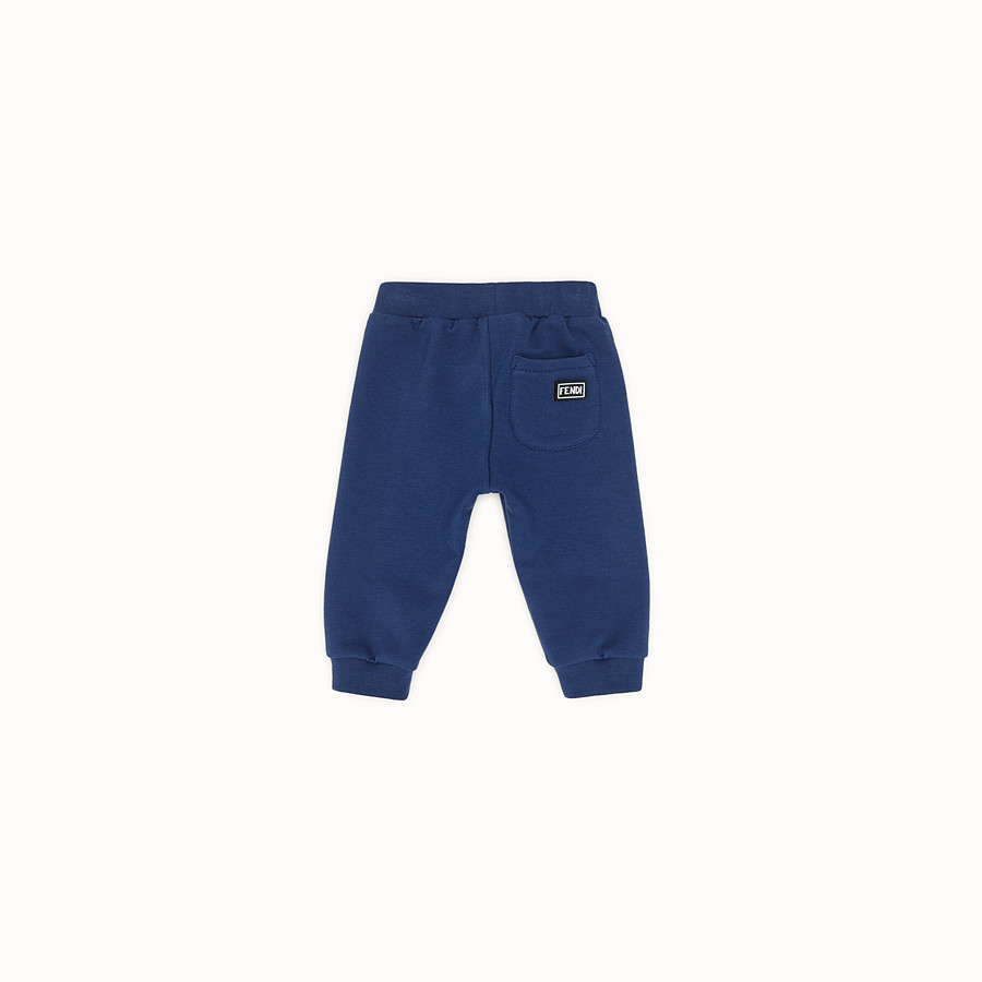 FENDI TROUSERS - Blue sweatshirt-fleece trousers - view 2 detail
