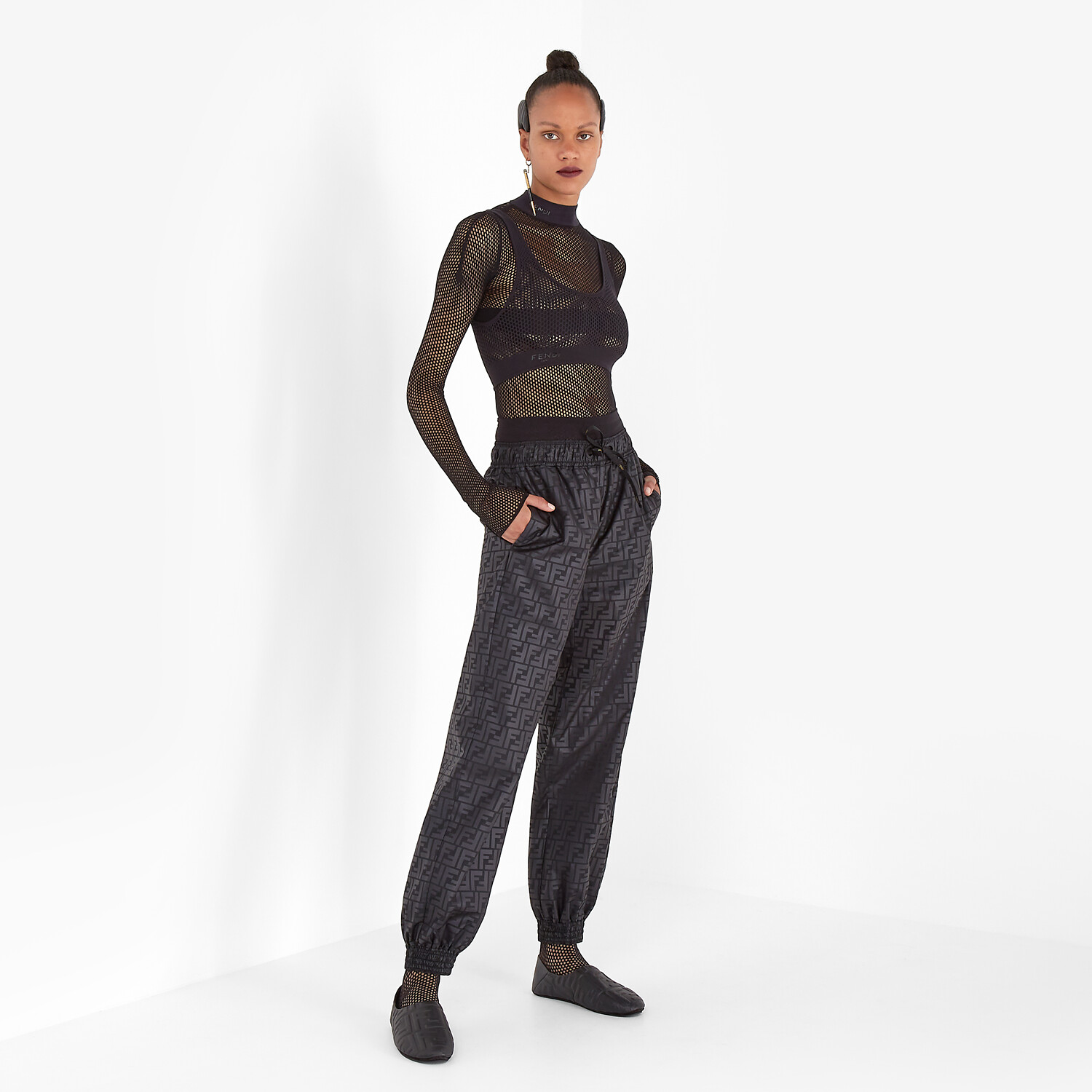 FENDI BODYSUIT - Black mesh body - view 4 detail
