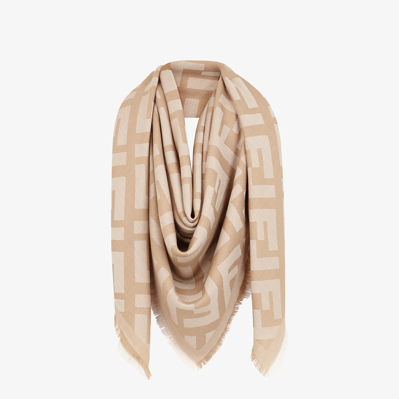 FENDI SCIALLE FF - Scialle in lana e cachemire beige - vista 2 dettaglio