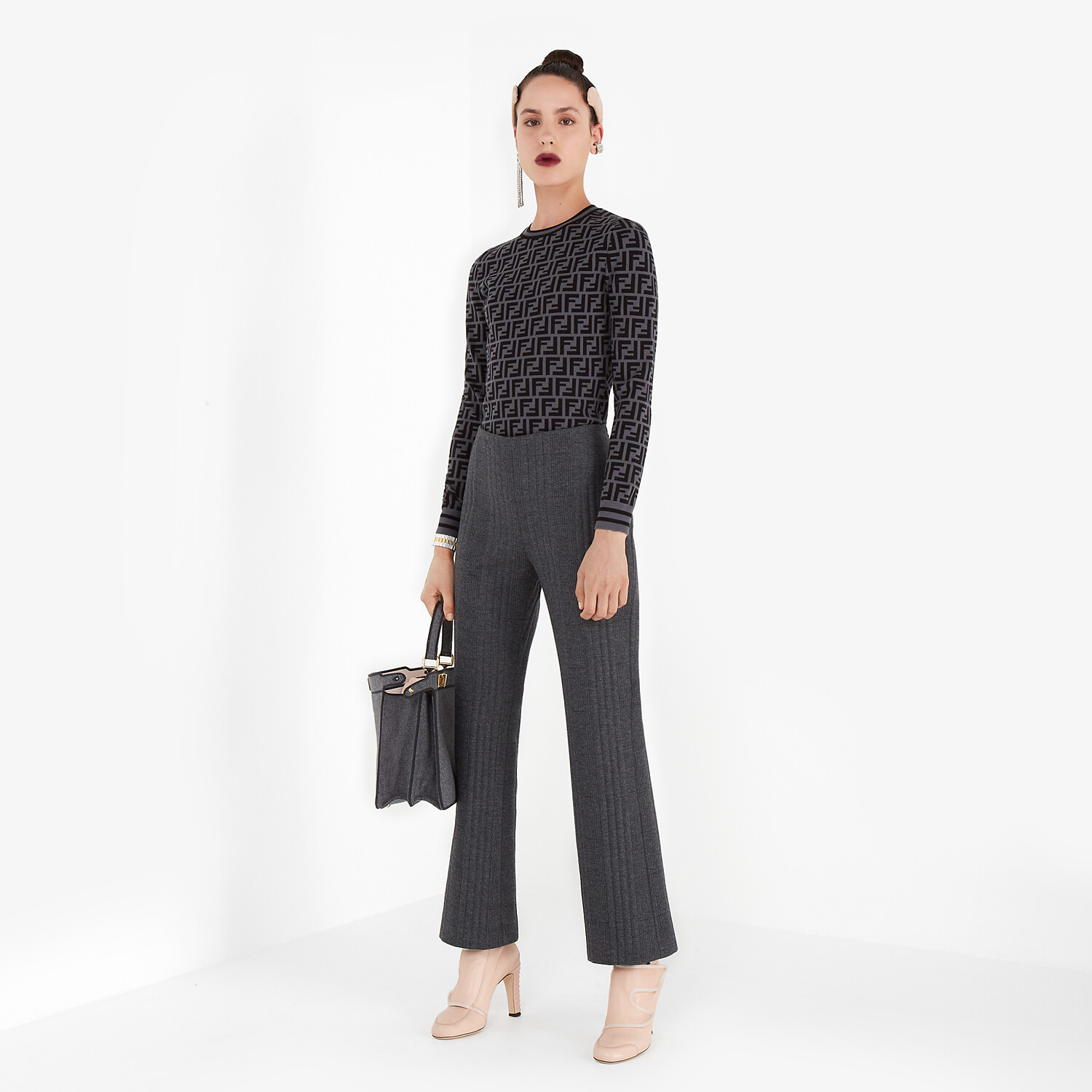 FENDI TROUSERS - Grey cashmere and flannel trousers - view 4 detail