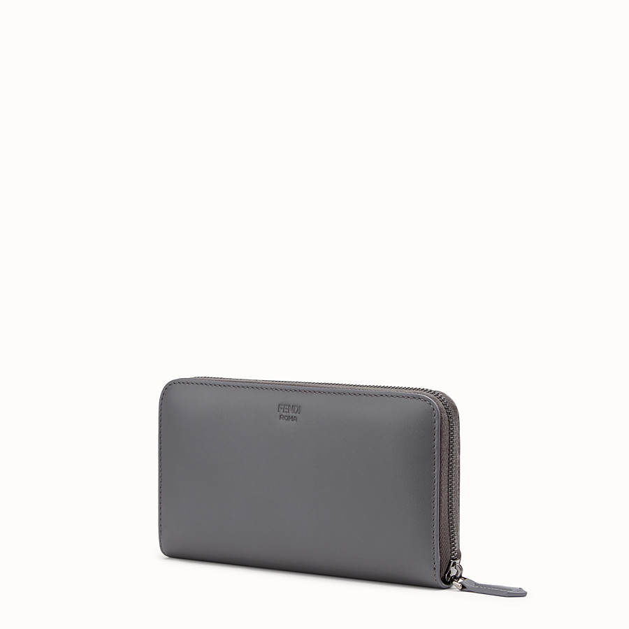 FENDI ZIP-AROUND - Gray leather wallet - view 2 detail