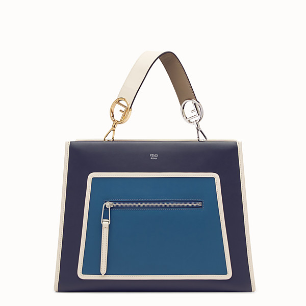 FENDI RUNAWAY REGULAR - Borsa in pelle blu - vista 1 thumbnail piccola