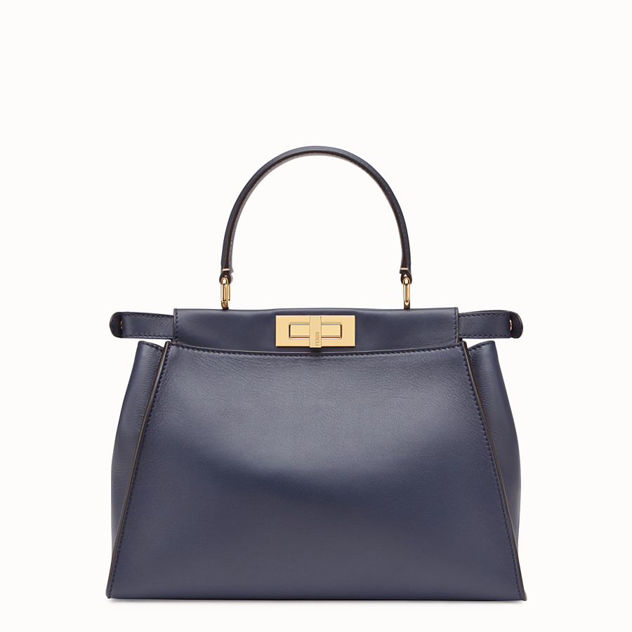 FENDI PEEKABOO ICONIC MEDIUM - Borsa in pelle blu - vista 3 dettaglio