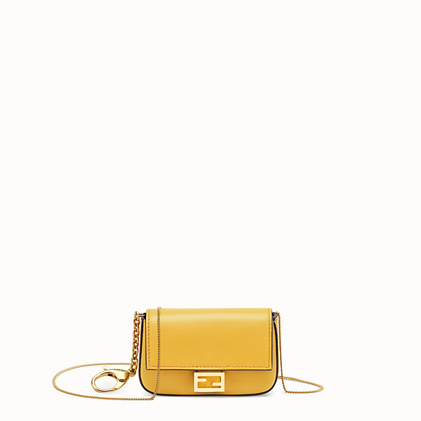 FENDI NANO BAGUETTE CHARM - Yellow leather charm - view 1 small thumbnail