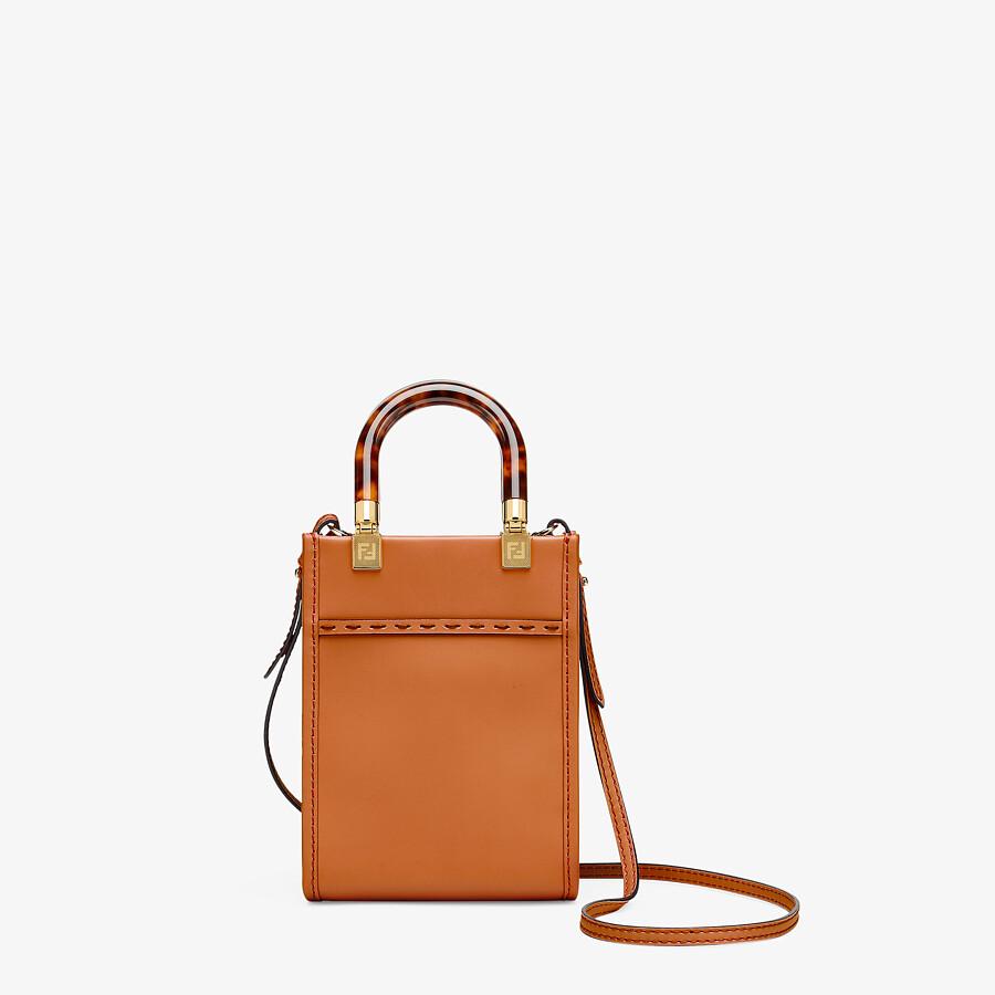 FENDI MINI SUNSHINE SHOPPER - Dark brown leather mini-bag - view 4 detail