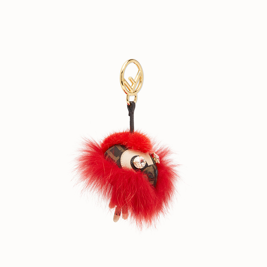 FENDI SPACE MONKEY - Red fur charm - view 1 detail