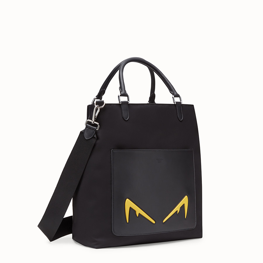FENDI TOTE BAG - Shopper in nylon and black leather - view 2 detail