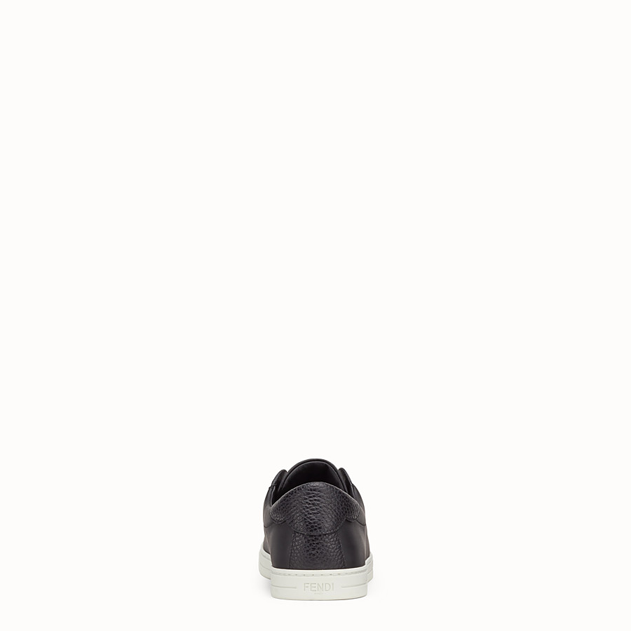 FENDI SNEAKERS - Black leather slip-ons - view 3 detail