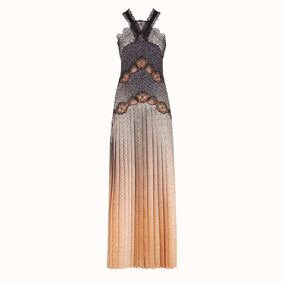 FENDI DRESS - Dress in beige silk twill - view 1 detail
