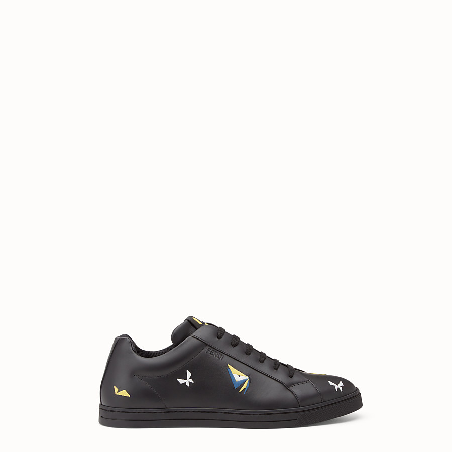 FENDI SNEAKER - Black leather lace-ups with embroidery - view 1 detail