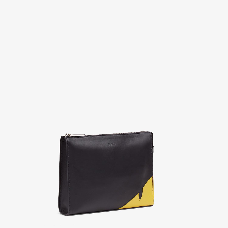 FENDI CLUTCH - Black calf leather pochette - view 2 detail