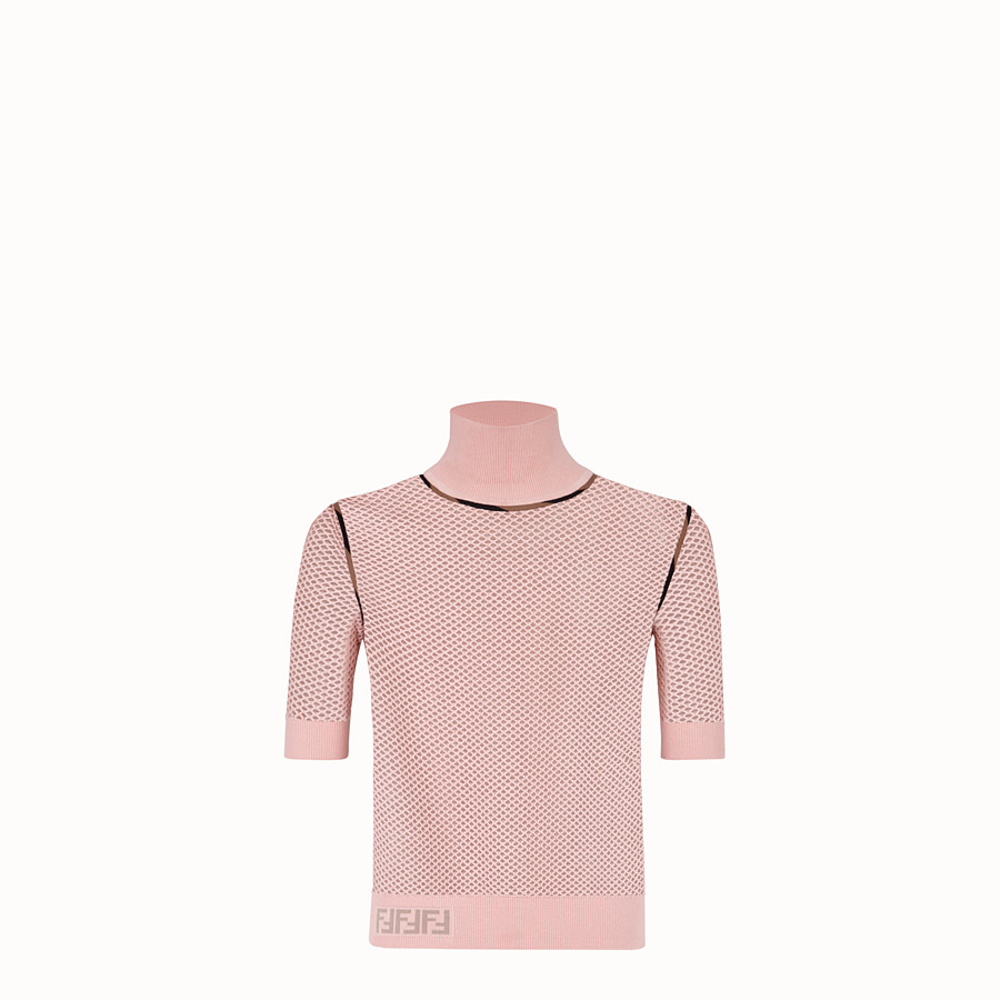 FENDI PULLOVER - Pink mesh jumper - view 1 detail