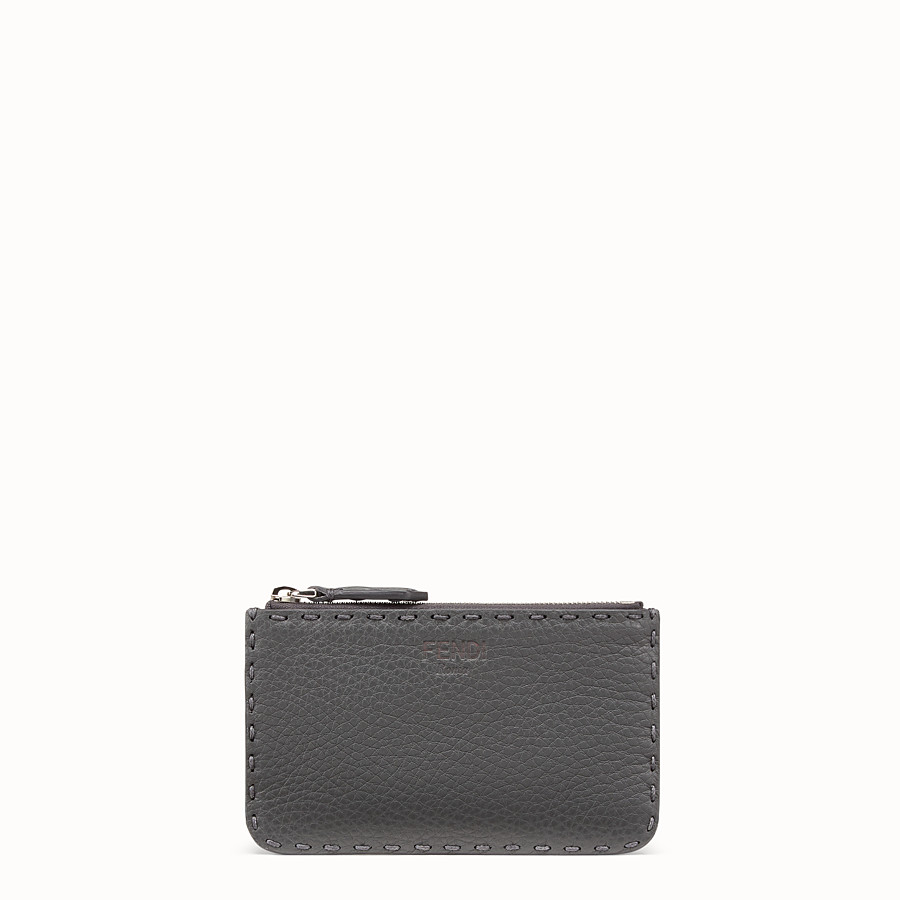 FENDI KEY RING - Grey leather pouch - view 1 detail
