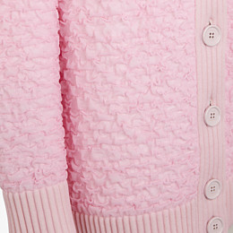 FENDI CARDIGAN - Pink embossed viscose cardigan - view 3 thumbnail