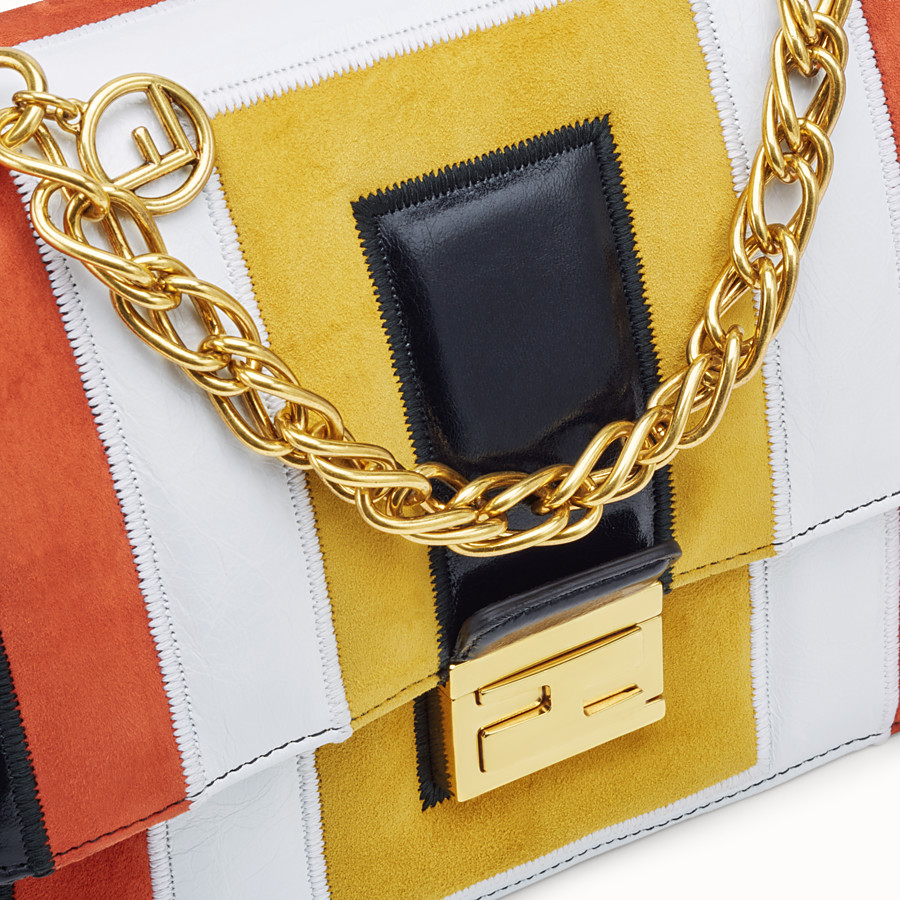 FENDI KAN U - Multicolour leather and suede bag - view 6 detail