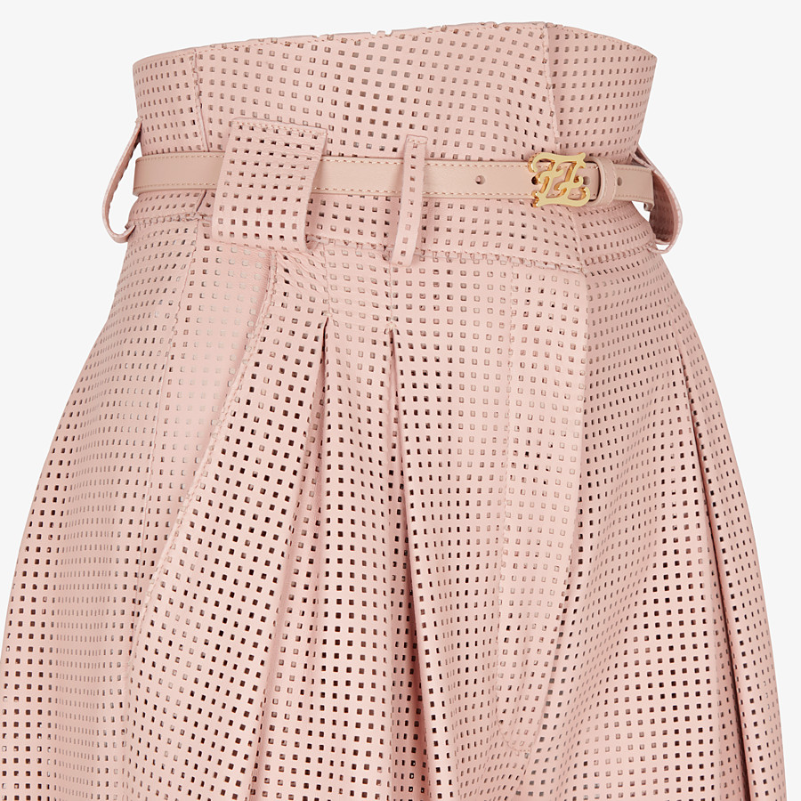 FENDI TROUSERS - Pink leather trousers - view 3 detail