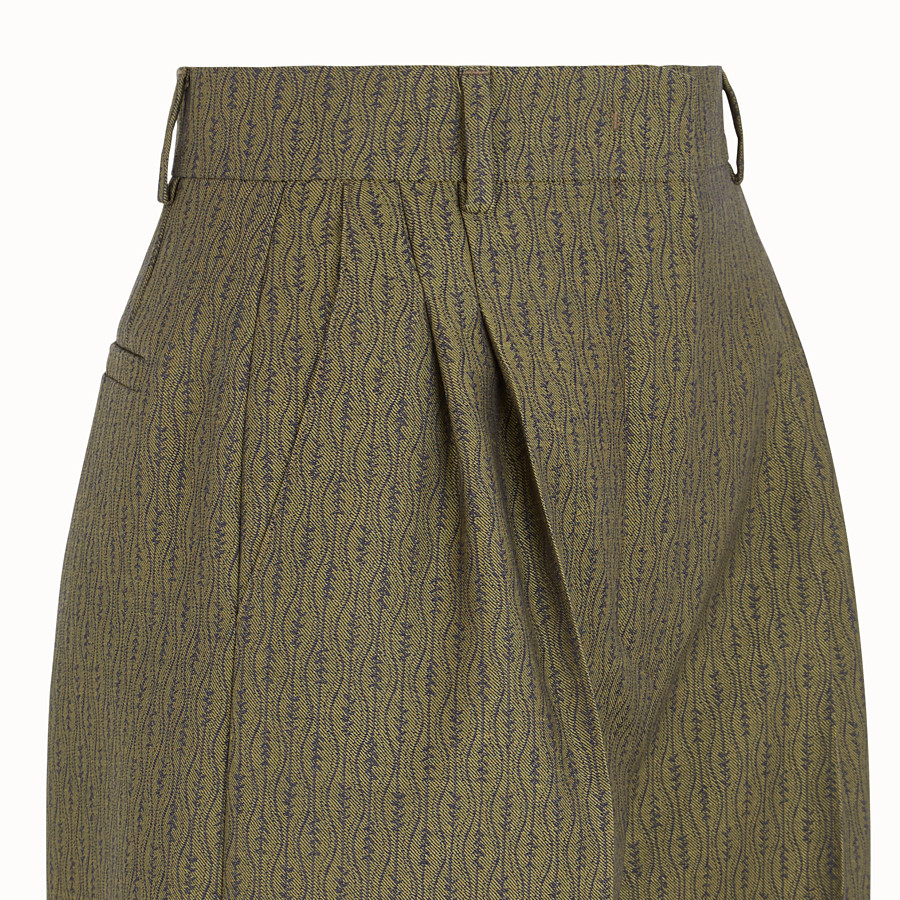 FENDI TROUSERS - Green wool trousers - view 3 detail