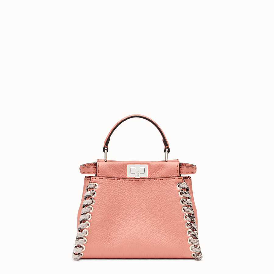 FENDI PEEKABOO MINI - Pink leather mini-bag with exotic details - view 1 detail