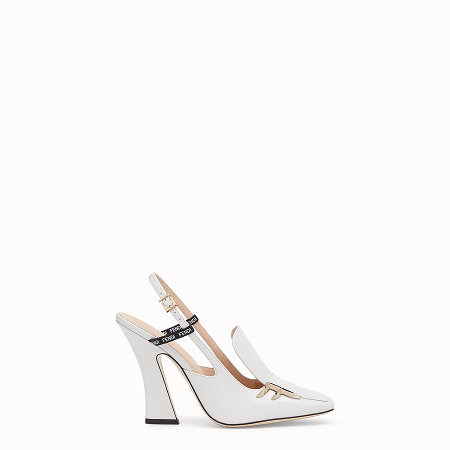 FENDI SLINGBACK - White nappa leather slingbacks - view 1 detail