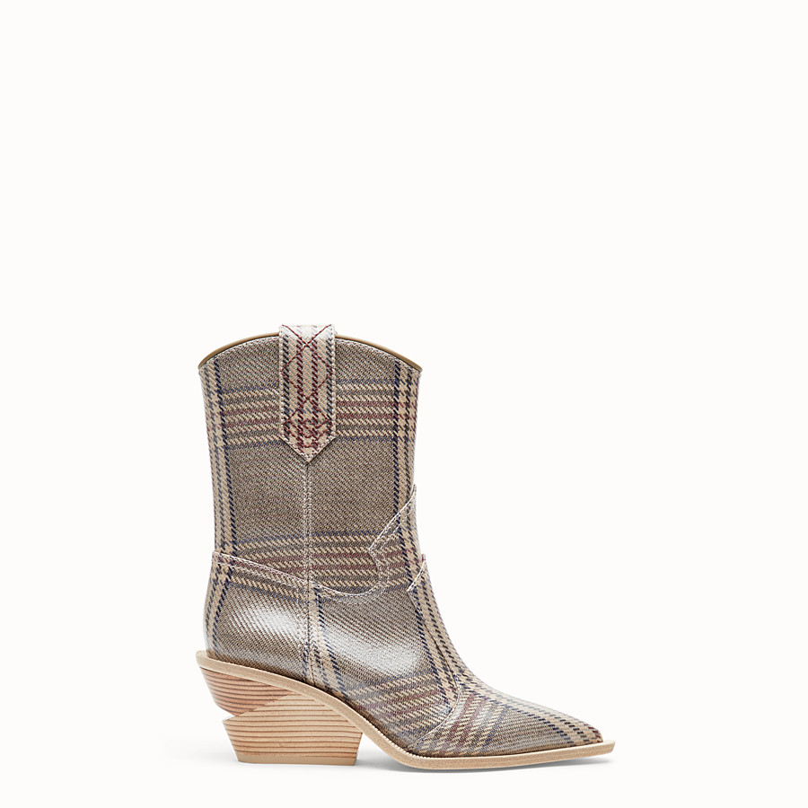 FENDI BOOTS - Multicolour fabric ankle boots - view 1 detail