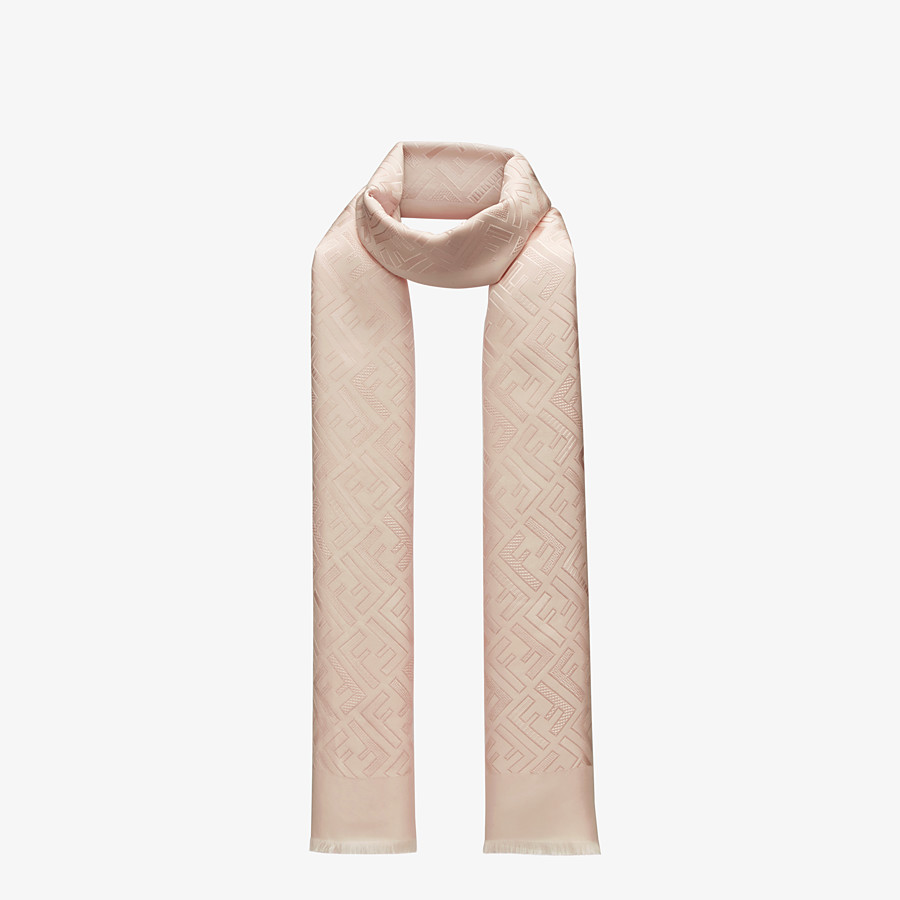 FENDI SIGNATURE STOLE - Stole in pink silk - view 2 detail