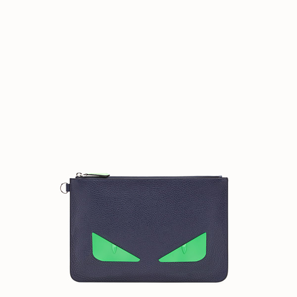 FENDI POUCH - Blue Romano leather pochette - view 1 small thumbnail