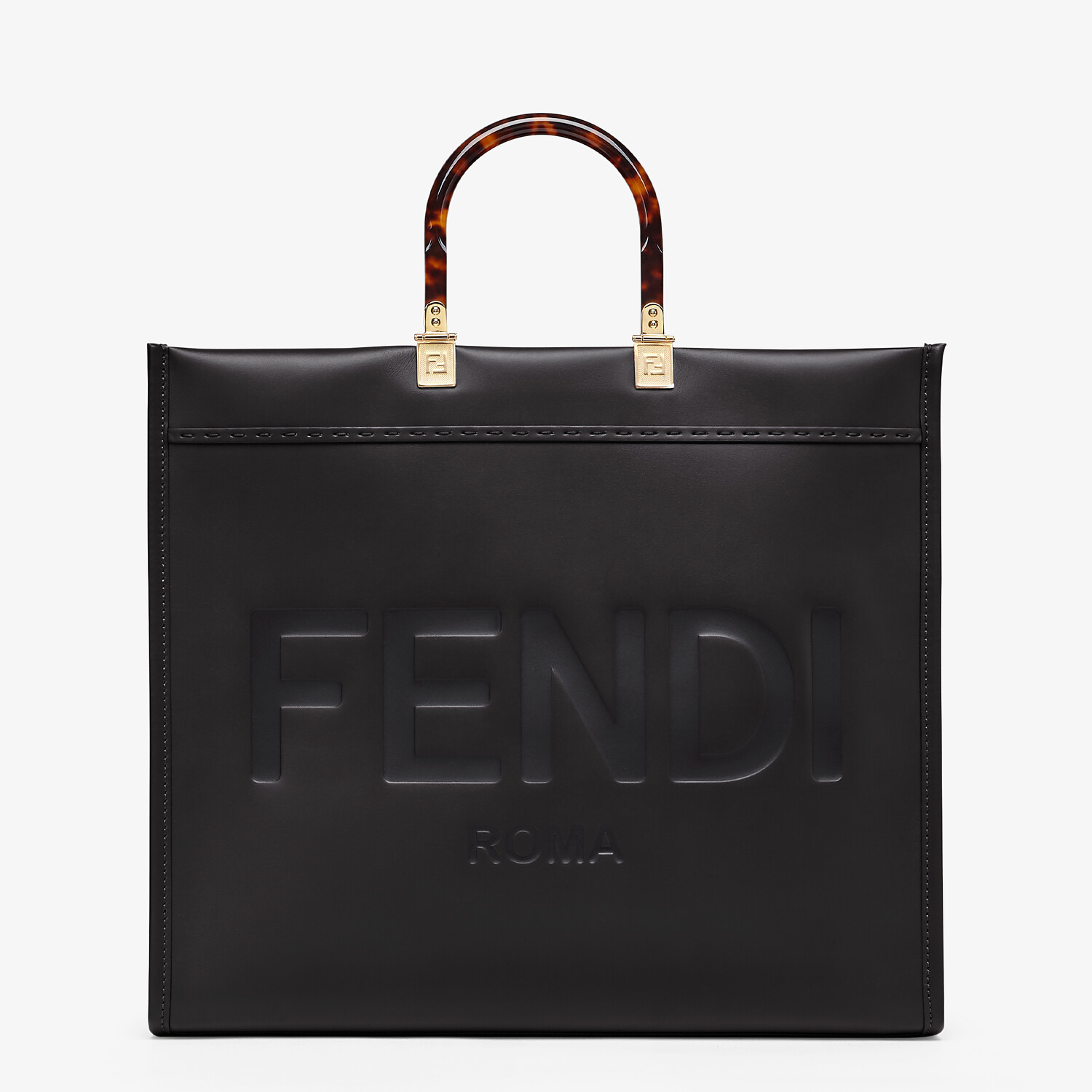 FENDI SUNSHINE SHOPPER - Black leather shopper - view 1 detail