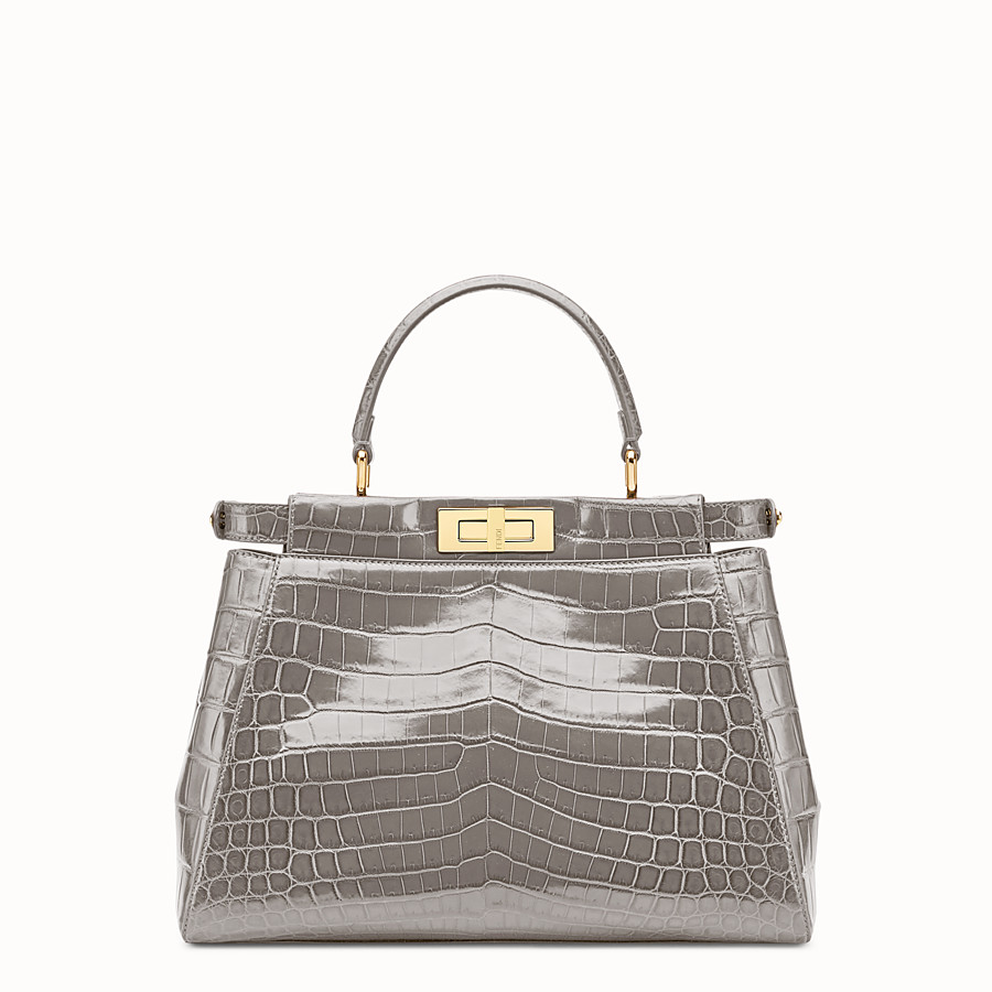 FENDI PEEKABOO REGULAR - Grey crocodile leather handbag. - view 3 detail