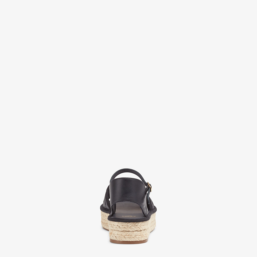 FENDI ESPADRILLES - Black leather flatform espadrilles - view 3 detail