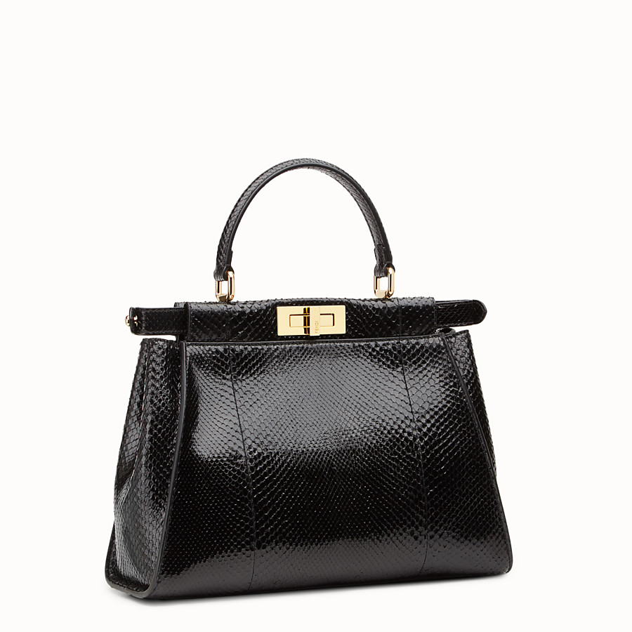 FENDI PEEKABOO REGULAR - Black python handbag. - view 2 detail