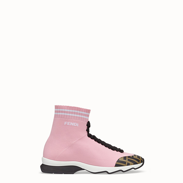 FENDI SNEAKERS - Pink fabric sneaker boots - view 1 small thumbnail