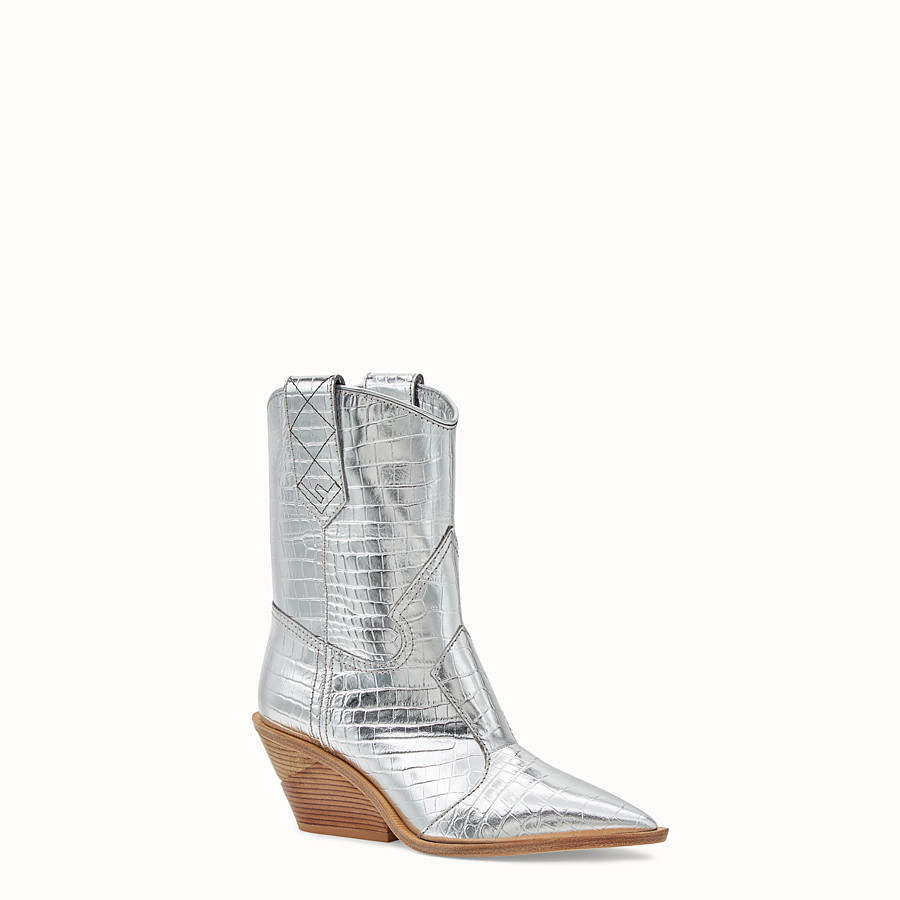 FENDI BOOTS - Silver leather ankle boots - view 2 detail