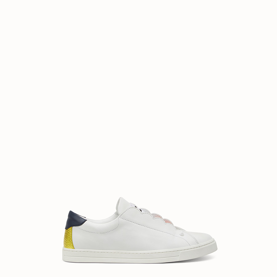 FENDI SNEAKER - White leather slip-ons - view 1 detail