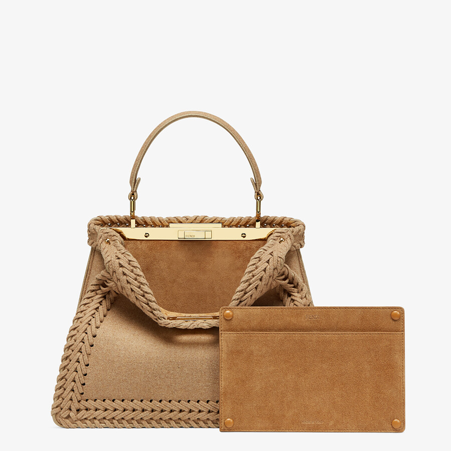 FENDI PEEKABOO ISEEU MEDIUM - Beige flannel bag - view 4 detail