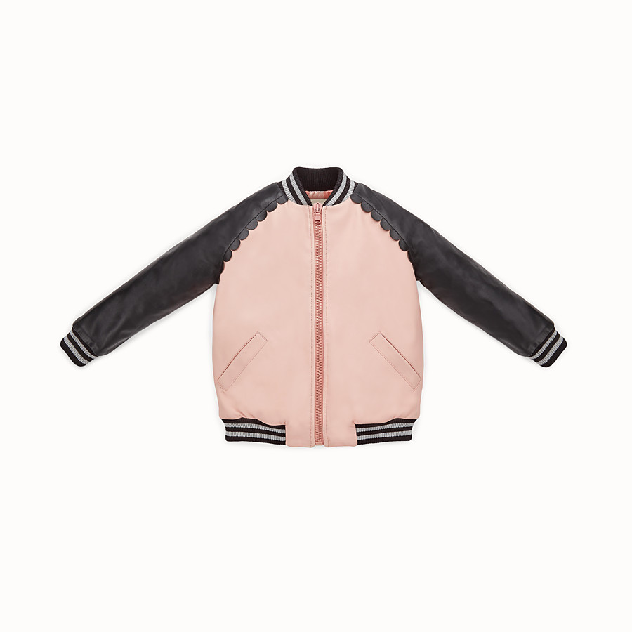 FENDI BOMBER - Junior girl's black and pink leather bomber jacket - view 1 detail
