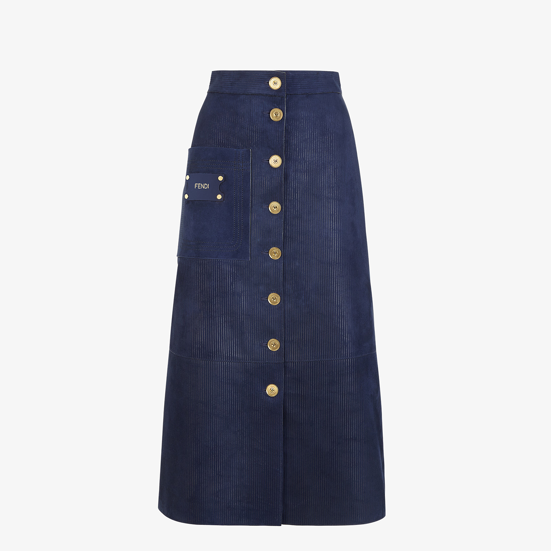 FENDI SKIRT - Blue suede skirt - view 1 detail