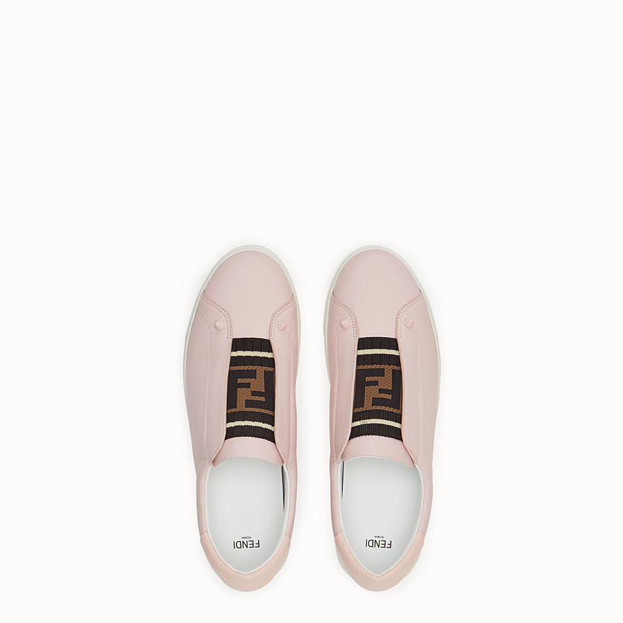 FENDI SNEAKERS - Pink leather slip-ons - view 4 detail