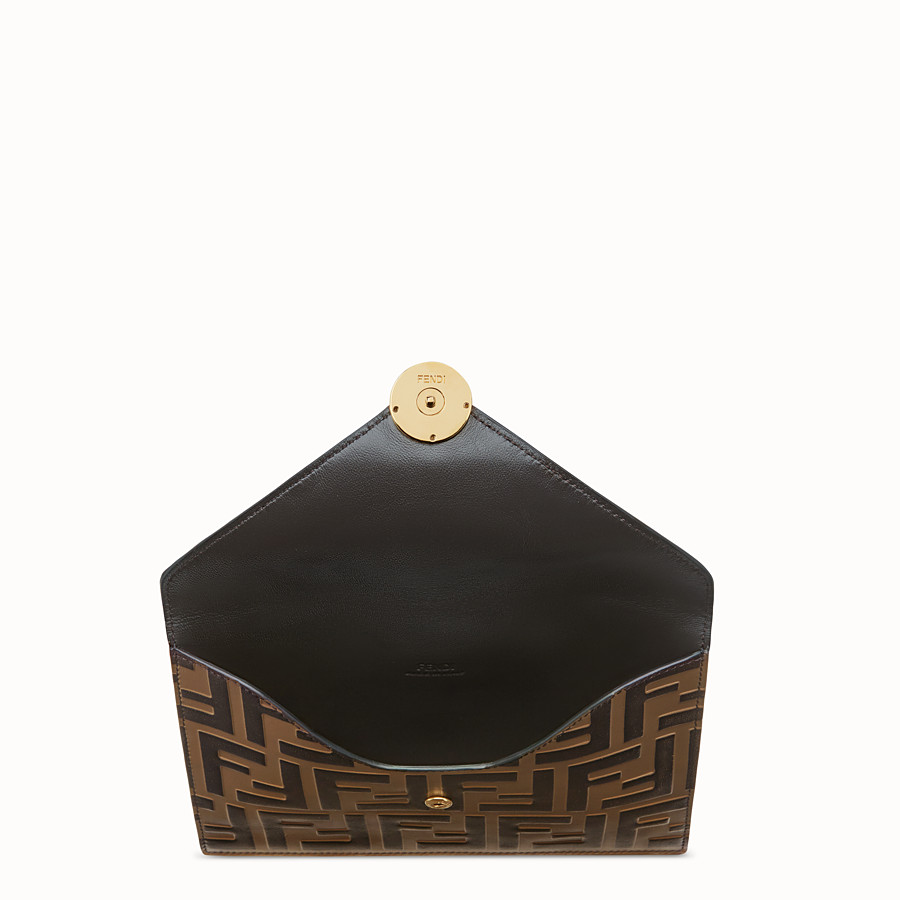 FENDI MEDIUM FLAT POUCH - Brown leather pouch - view 3 detail