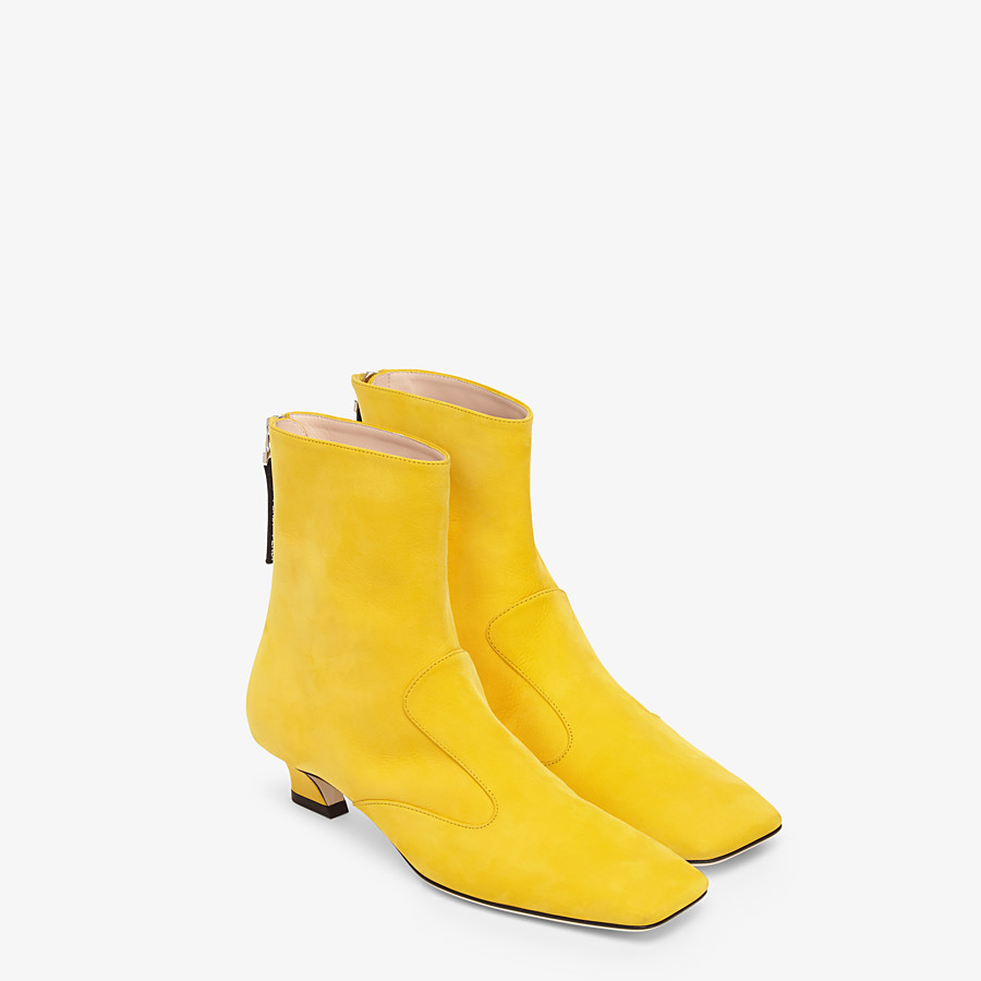 FENDI ANKLE BOOTS - Yellow nubuck booties - view 4 detail