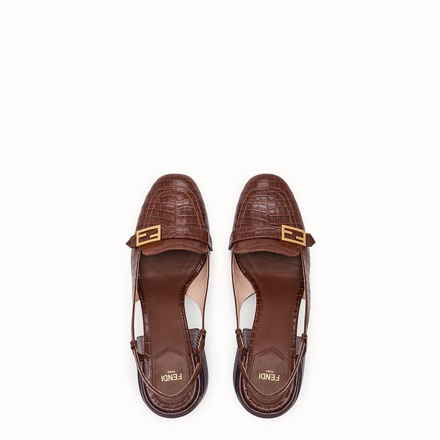 FENDI SLINGBACK - Brown leather Promenade - view 4 detail