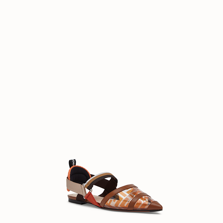 FENDI SABOTS - Flats in PU and orange leather - view 2 detail