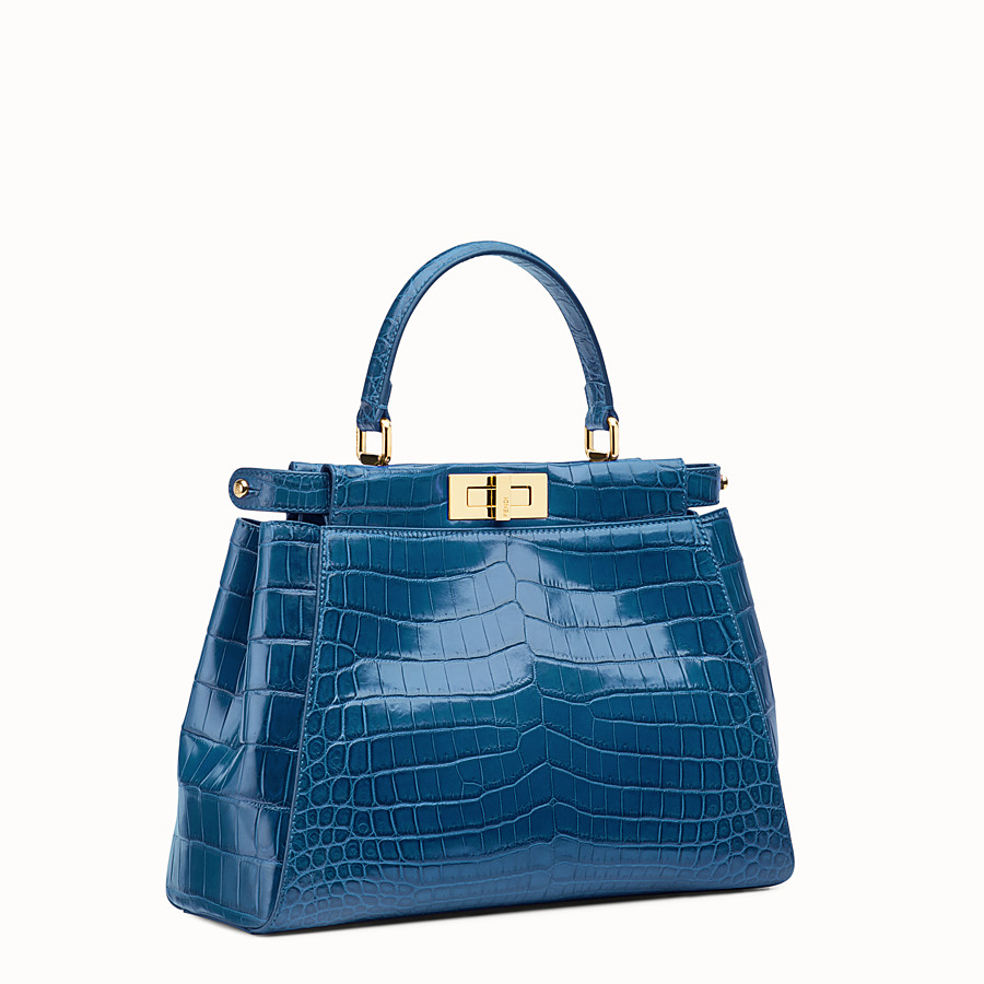 FENDI PEEKABOO REGULAR - Blue crocodile leather handbag. - view 2 detail