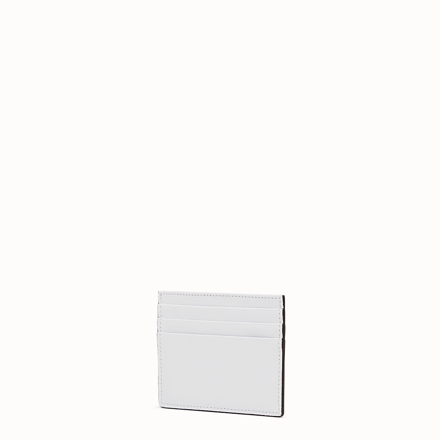FENDI CARD HOLDER - Flat white leather card holder - view 2 detail