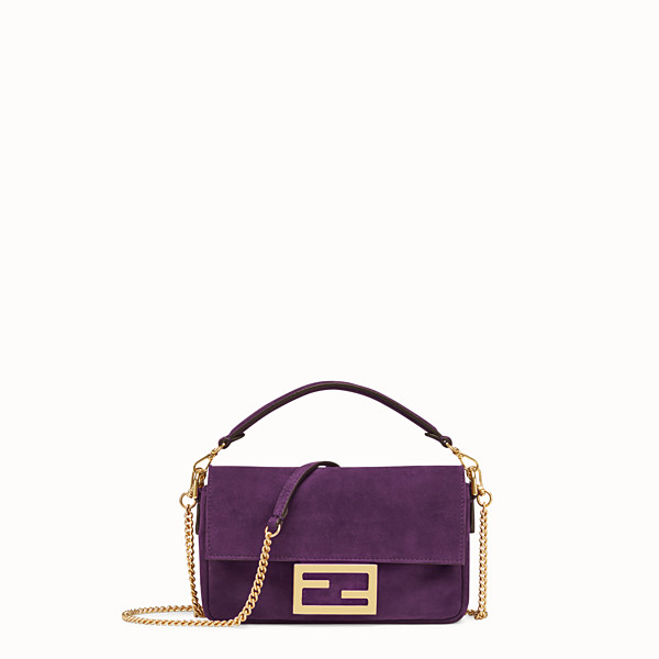 FENDI MINI BAGUETTE - Purple suede bag - view 1 small thumbnail